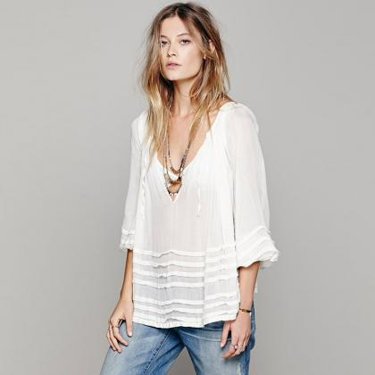 European style blouse sexy draped w..