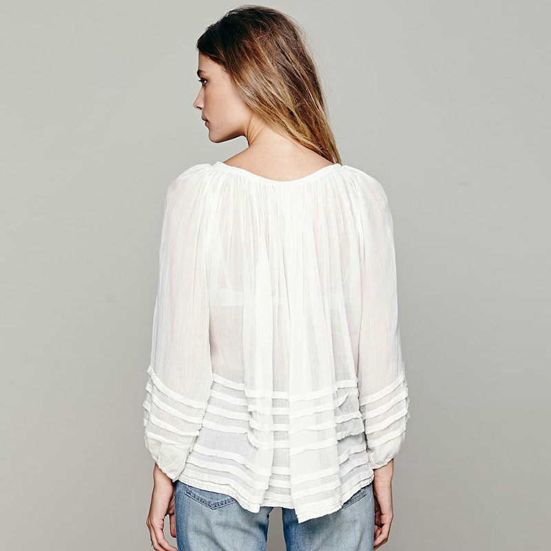 European style blouse sexy draped with flare sleeve loose women chiffon blouse blouse